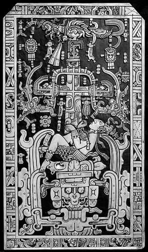 Надгробная пятитонная плита с изображением древнего «космонавта».