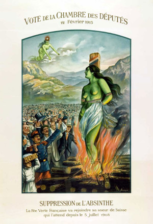 Плакат, агитирующий за полный запрет абсента. Франция, 1908 год