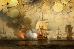 В коллаже использована картина Сэмюэля Скотта «Морская битва при Картахене». Изображён момент взрыва на корабле «Сан-Хосе»