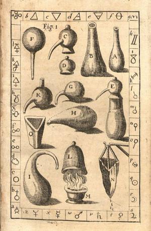 Различные инструменты, использовавшиеся алхимиками: колбы, фильтры для газа, сито, капельница и прочее
