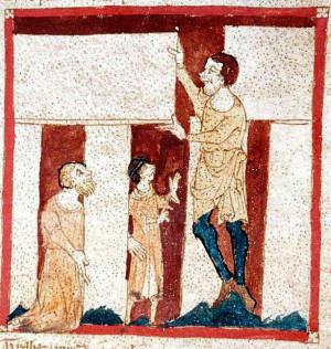 Волшебник Мерлин поднимает камни Стоунхенджа. Миниатюра XIV века