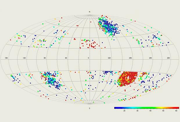 Возможные места обитания сверхцивилизаций отмечены красными точками. Изображение: V. G. Gurzadyan, R. Penrose
