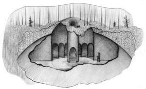Непонятные сооружения Долины Смерти, как их представил художник Юрий Михайловский по рассказам старого кочевника
