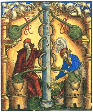 Символическое изображение Великого делания, итогом которого должен стать философский камень