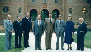 Ответственные за проведение учений «Опытный лучник» 1983 года: Рональд Рейган, Маргарет Тэтчер и другие
