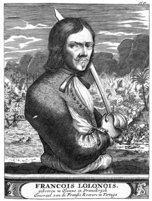 Портрет Олоне из книги «Пираты Америки» А. Эксквемелина