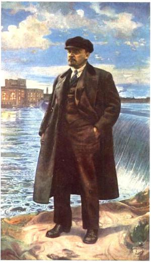 «В.И. Ленин на фоне Волховстроя». Картина Исаака Бродского, 1927 год