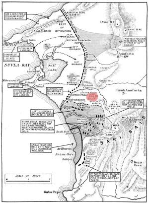 Карта боевых действий в заливе Сувла (август 1915). Высота 60 обозначена красным.