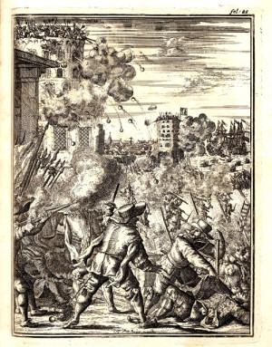 Гравюра демонстрирует полное уничтожение пиратами города Гибралтар в 1680 году