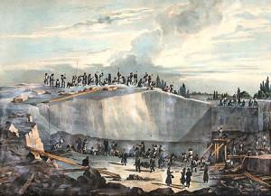 Работы в Пютерлакской каменоломне. Литография по рисунку Монферрана