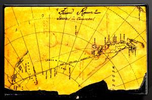 Карта в непромокаемом чехле, по которой Ронне ориентировался в экспедиции 1939-1941 годов