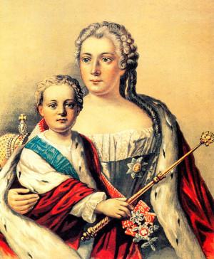 Иоанн Антонович и Анна Леопольдовна. Литография XVIII века