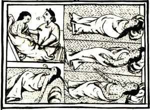 """Умирающие от оспы индейцы. Изображение из """"Флорентийского кодекса"""" Бернардино де Саагуна"""