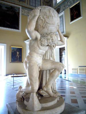 За вражду с Зевсом и попытку вступить в борьбу с богами Олимпа Атласа постигла суровая кара: боги взгромоздили на него непосильную ношу — небесный свод
