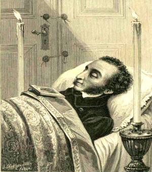 """Гравюра Лаврентия Серякова. """"А. С. Пушкин 29 января 1837 года"""". 1880 год"""