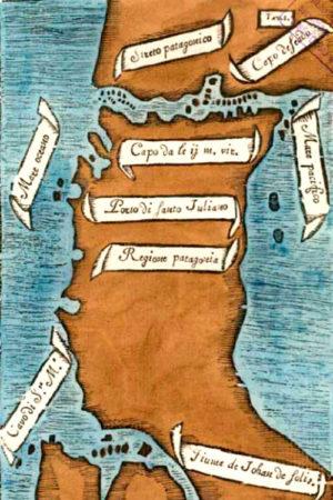 Карта, составленная Антонио Пифагеттой, с первым изображением Магелланова пролива. Север находится внизу