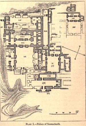 План дворца в Ниневии, где была найдена библиотека