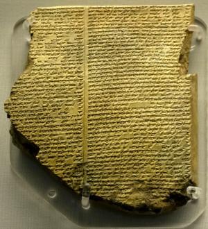Глиняная табличка с фрагментом мифа о Гильгамеше (Табличка №11, на которой описывается история потопа; сейчас табличка с другими находится в коллекции Британского музея)