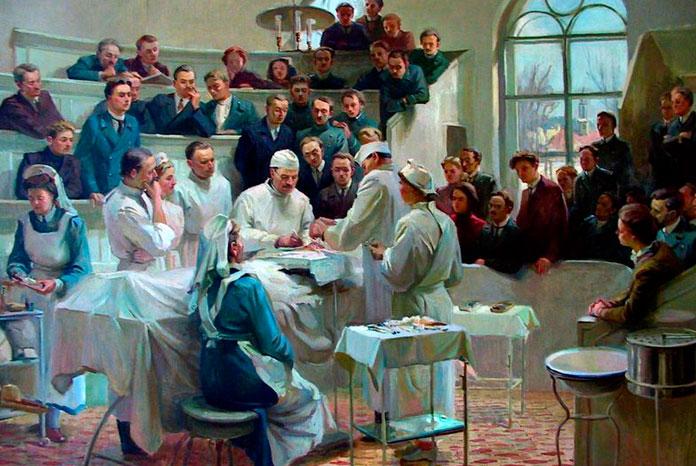 Показательная операция в клинике Пирогова. (Художник неизвестен)