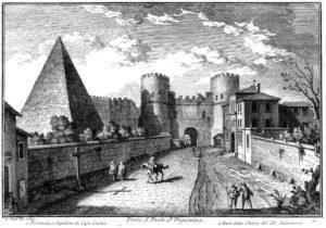 В III веке мавзолей Цестия был включен в фортификационную систему Рима и стал треугольным бастионом близ ворот Сан-Паоло в составе 19-километровых Аврелиевых стен. Гравюра Джузеппе Вази. XVIII век