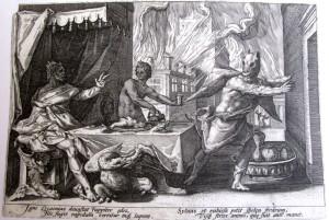 """Хендрик Голциус. """"Зевс превращает Ликаона в волка"""". Гравюра 1585 года"""