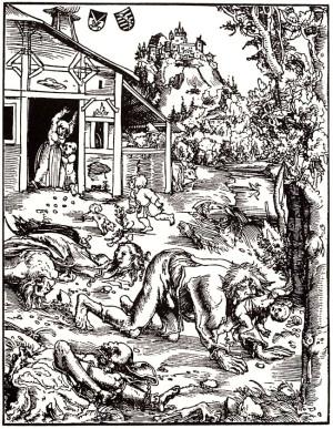 "Лукас Кранах Старший. ""Вервольф"". Гравюра 1512 года"