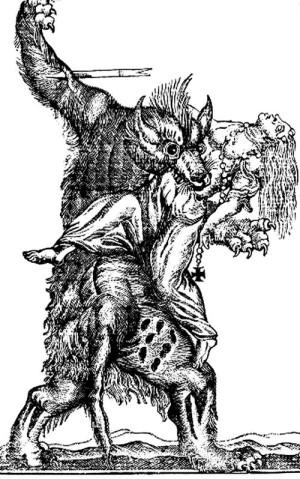 """Иан Вудворд. """"Нападение вервольфа"""". Гравюра, XVIII век"""