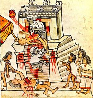Принесение человека в жертву. Изображение из ацтекского Кодекса Мальябекки