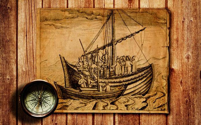 Поморский коч на гравюре 1598 г.