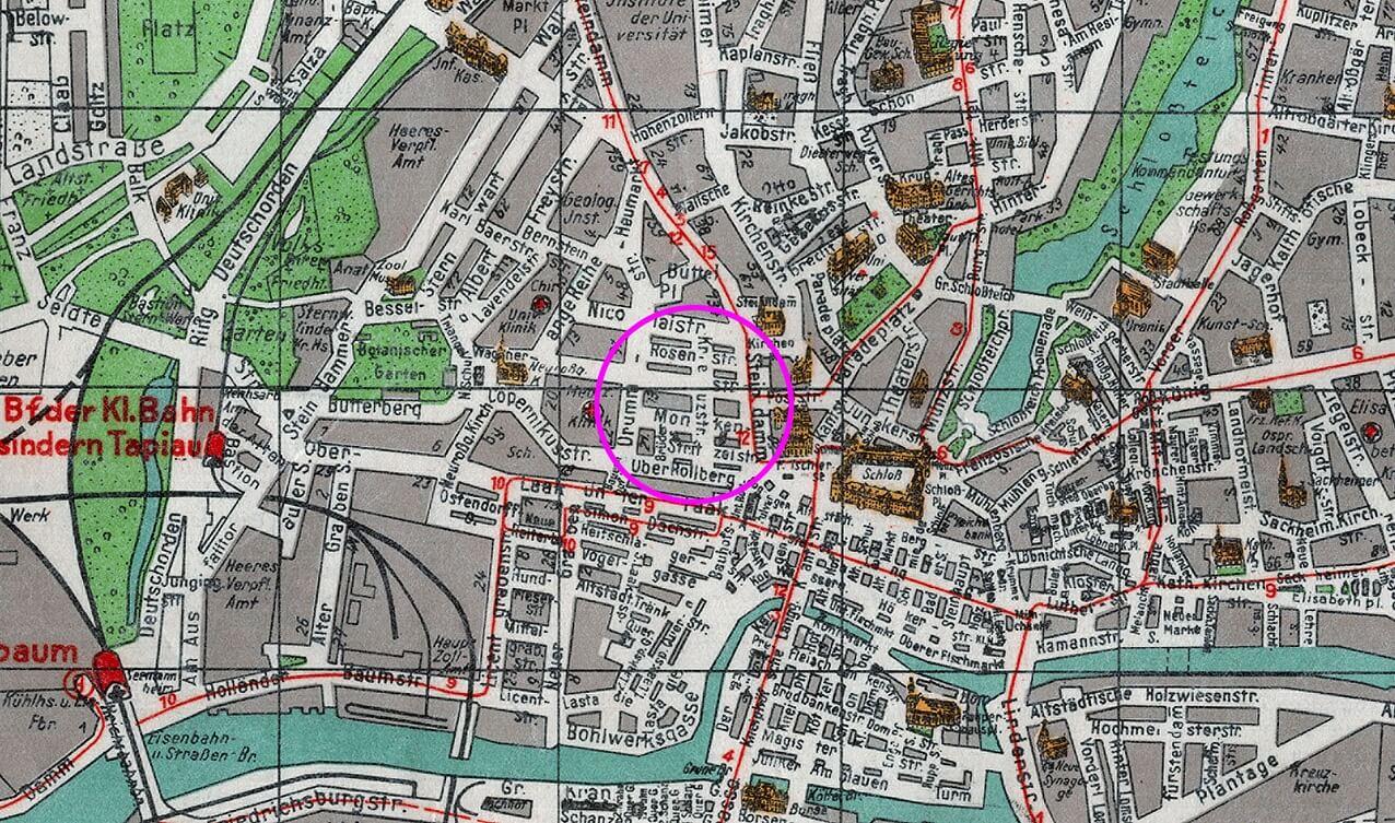 Карта района (1944) Калининграда (Кёнигсберга), где в подземном бункере и по сей день может храниться Янтарная комната.