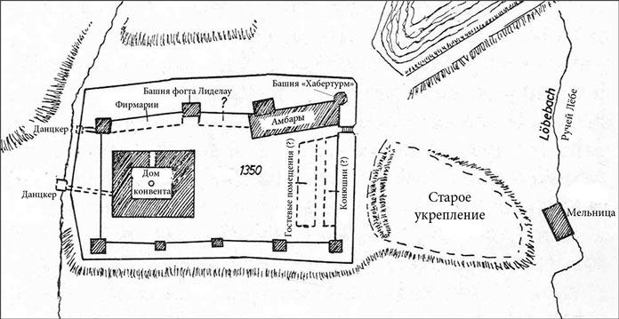 План Замка в 1350 году. Реконструкция из книги Фридриха Ларса «Кёнигсбергский замок».