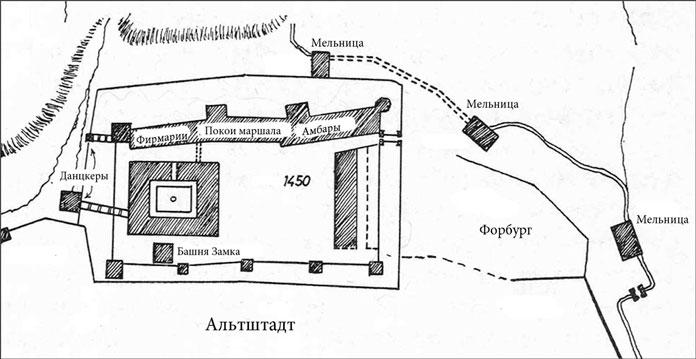 План Замка в 1450 году. Реконструкция из книги Фридриха Ларса «Кёнигсбергский замок».