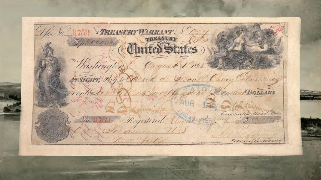 Чек на 7,2млн долларов США, предъявленный для оплаты покупки Аляски.Коллаж © L!FE. Фото: © wikipedia.org, ©wikimedia.org