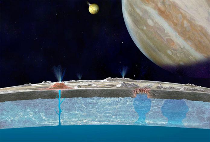 Под ледяной коркой Европы может скрываться соленый океан жидкой воды. Изображение: NASA / JPL-Caltech