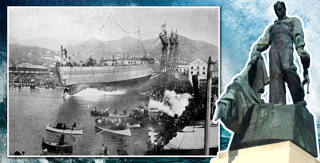 Спуск на воду «Giulio Cesare» 15 октября 1911 года. Фото: © Wikimedia Commons