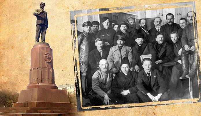 М. И. Калинин (по левую руку от В. И. Ленина) среди делегатов VIII съезда РКП(б), 18 февраля 1919 года.