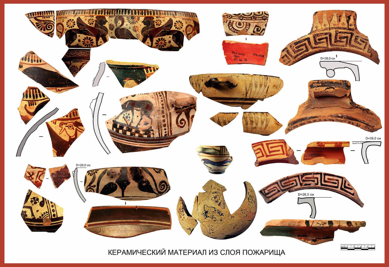 Ранняя восточно-греческая и протокоринфская керамика из слоя пожарища. Фото: © Личный архив Владимира Толстикова