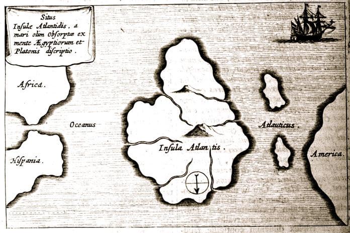 Изображение: карта Атлантиды Афанасия Кирхера