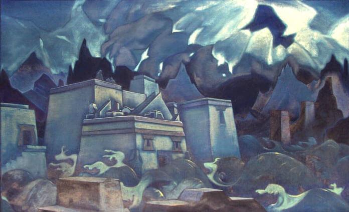 Изображение: картина Николая Рериха «Последние Атланты» (Гибель Атлантиды)