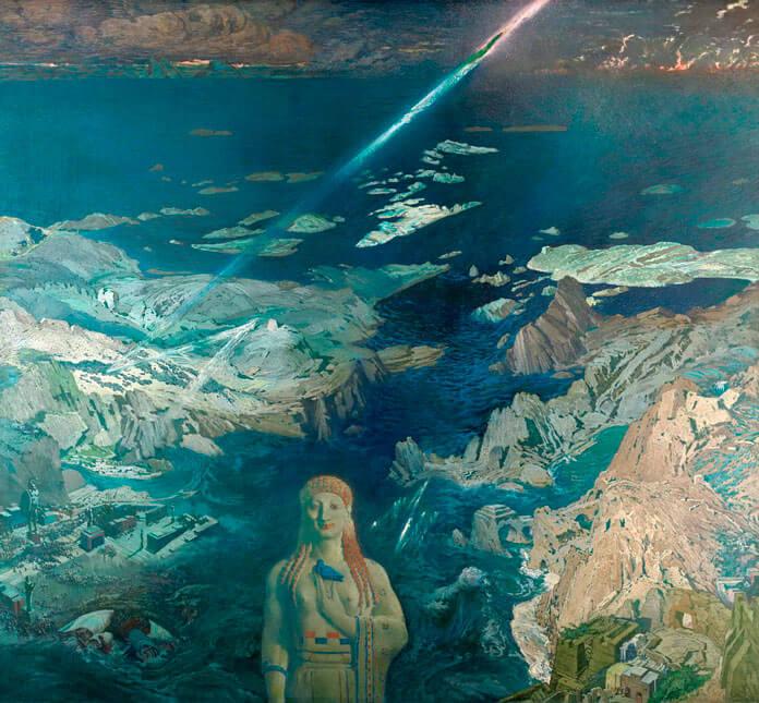 Картина Леона Бакста «Древний ужас», изображающая гибель античной цивилизации (возможно, Атлантиды)