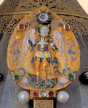 Наносник шлема царя Михаила Романова с изображением архангела Михаила. Чеканка, эмаль