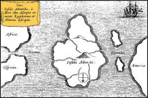 Карта Атлантиды Афанасия Кирхера, 1669 год. Обратите внимание, север, как показано стрелкой на карте, расположен в нижней части