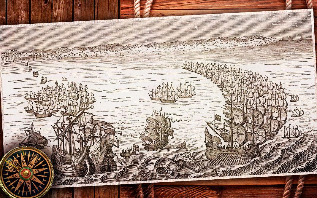Дрейк атакует «Испанскую армаду». Коллаж © HistoryLost.Ru. Фото: ©Universal History Archive / Universal Images Group / EAST NEWS