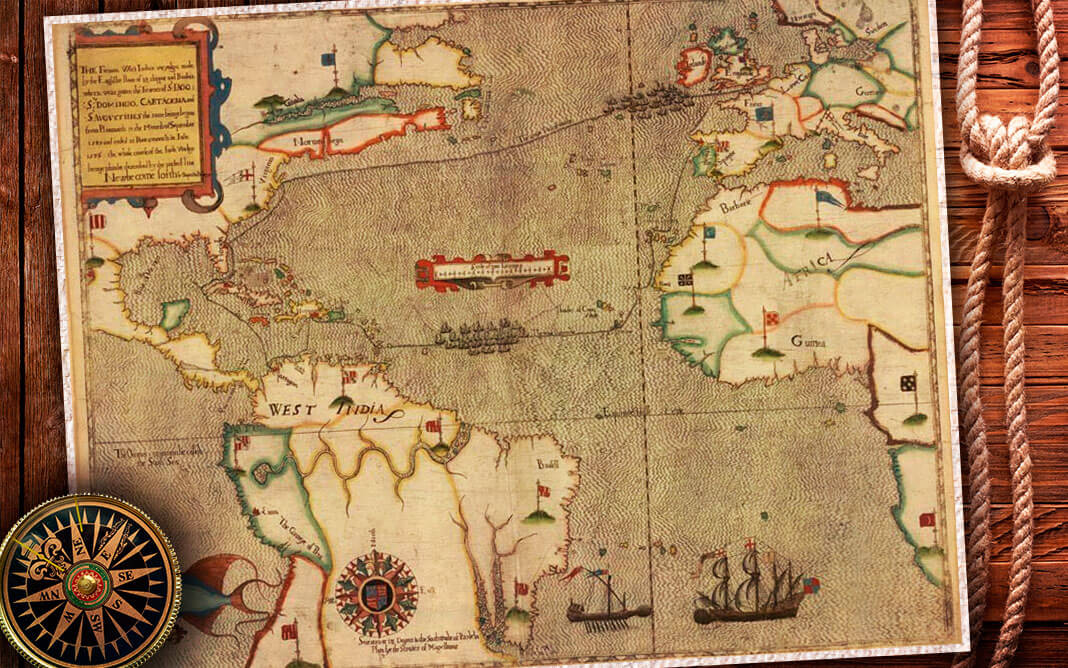 Map of Drakes Great Expedition in 1585 by Giovanni Battista Boazio. Коллаж © HistoryLost.Ru. Фото: © wikipedia.org