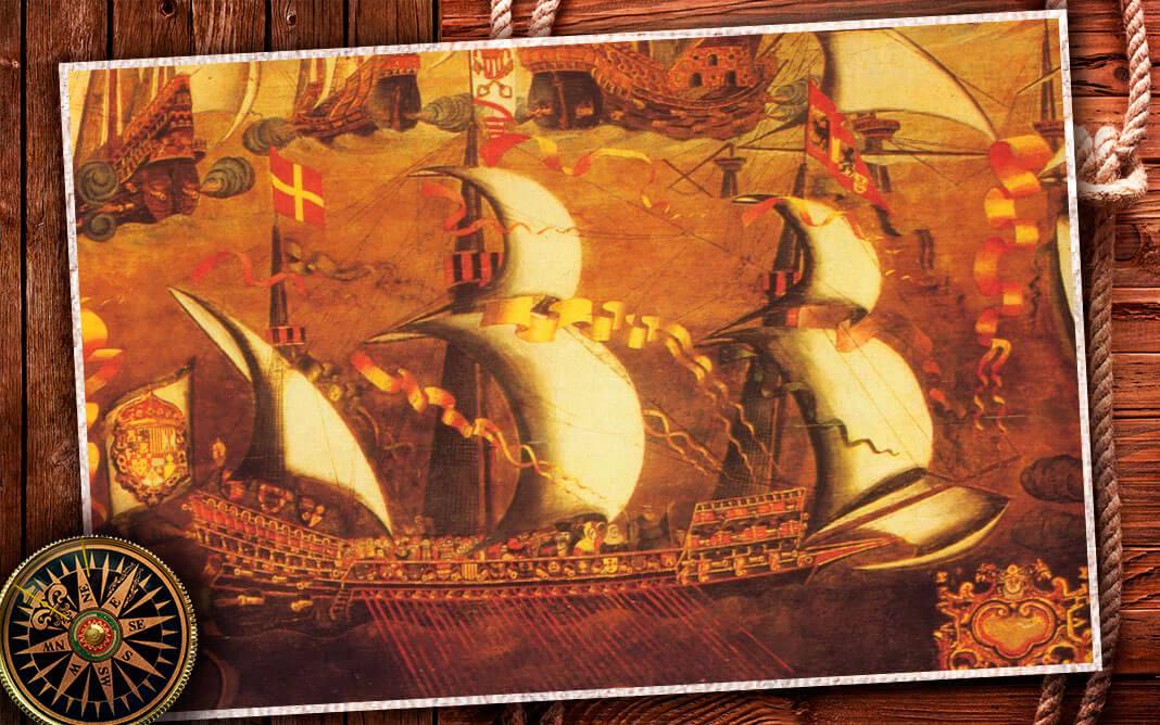 Испанский галеас из состава Непобедимой армады. Коллаж © HistoryLost.Ru. Фото: © wikipedia.org