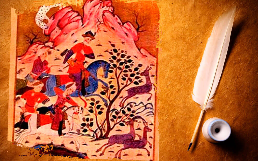 Царь Ростеван и Автандил на охоте. Иллюстрация из рукописи Мамуки Тавакарашвили к поэме «Витязь в тигровой шкуре», 1646 г. Коллаж: © HistoryLost.Ru. Фото:© wikipedia.org