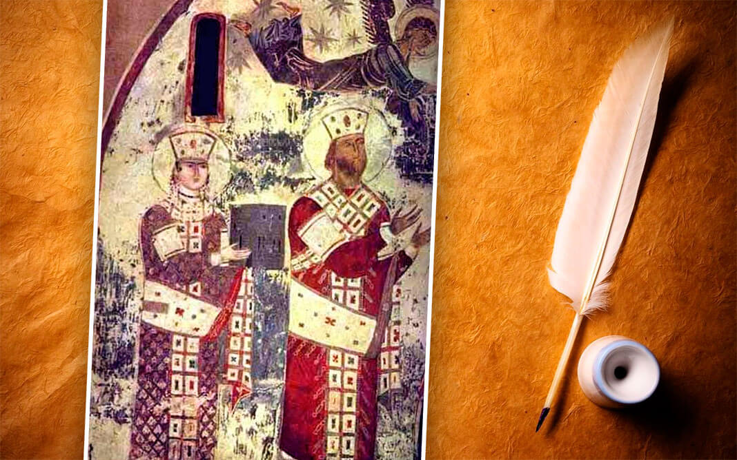Царица Тамара (слева) и отец Георгий III (справа). Самый ранний из сохранившихся до наших дней портрет царицы Тамары (фреска из пещерного монастырского комплекса Вардзиа, 1184–1186). Коллаж: © HistoryLost.Ru. Фото:© wikipedia.org