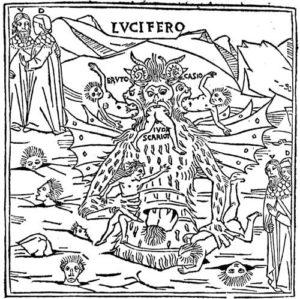 Изображение дьявола, наказывающего грешников. В верхнем левом углу стоят Данте и его проводник - Вергилий. Иллюстрация XV века.