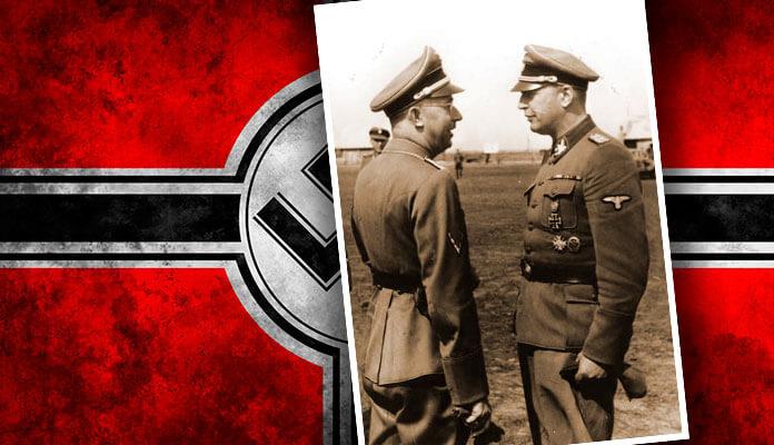 Обергруппенфюрер Ганс-Адольф Прютцман (справа) встречает рейхсфюрера СС Генриха Гиммлера во время его визита в 5 танковую дивизию Викинг на Украине. Сентябрь 1942 г.