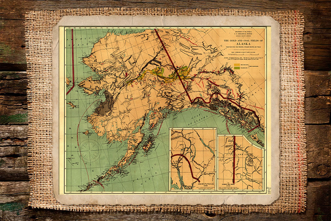 Карта Аляски и Британской Колумбии 1897 года с обозначением месторождений золота. Фото: © Wikipedia